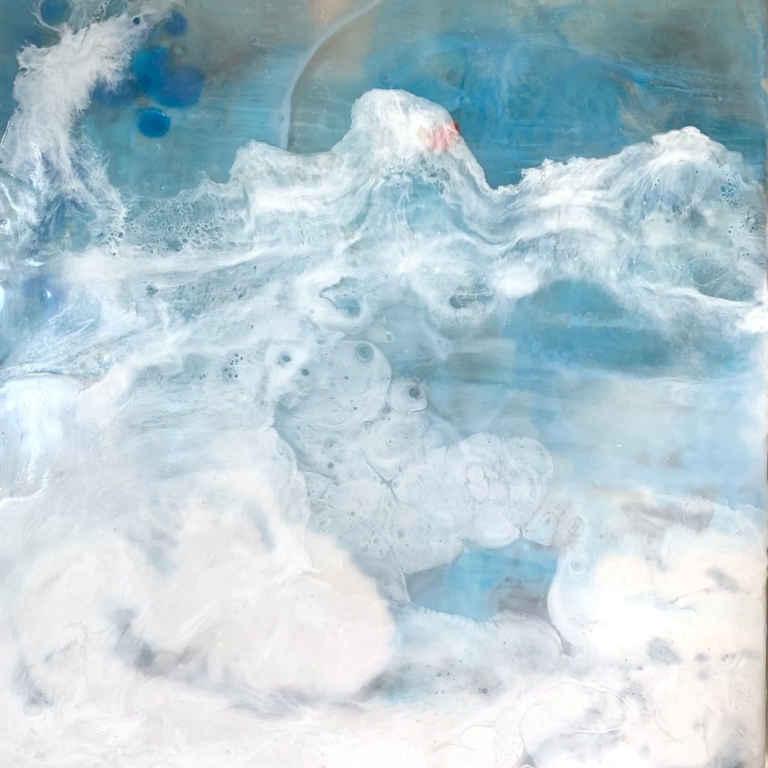 Barbara-Brenner-_Through-the-Sea_-20_x20_-framed-Encaustic-on-birch
