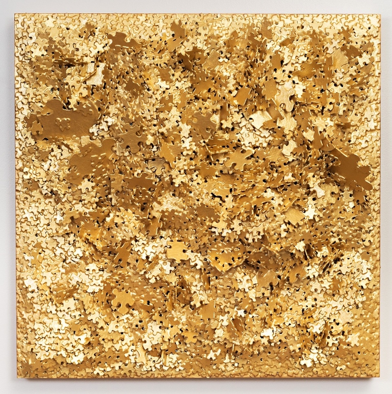 Jeffrey-Wilcox-Paclipan-Golden-3-_-24-x-24-x-7d-_-puzzles-gold-latex-paint-on-wood-panel