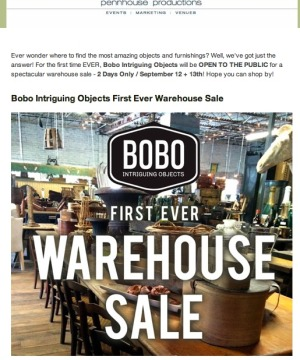 BoBo Intriguing Objects Warehouse Sale
