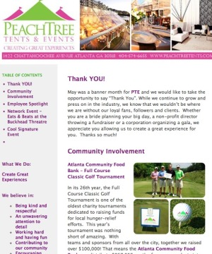 PeachTree Tents & Events Monthly Newsletter